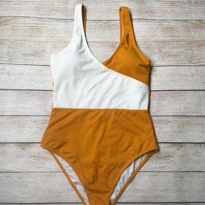 CUPSHE | color block orange white swimsuit med